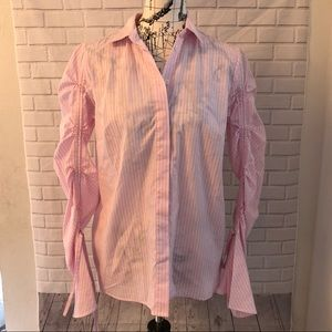 who what wear pink pinstripe blouse bell sleeve